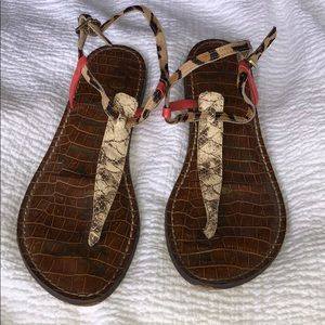 Awesome Calf Hair and Snake Mixed Media Sandals